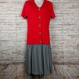 Donna Turan Small Red gathered drop waist